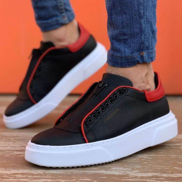 Flatline Black & Red Sneakers