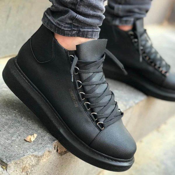 Chekich CH258 Black Leather Sneakers