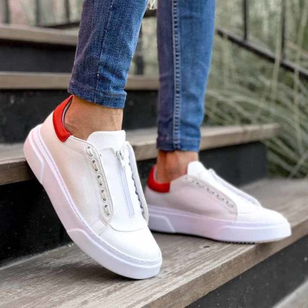 White-Red Flatline Sneakers