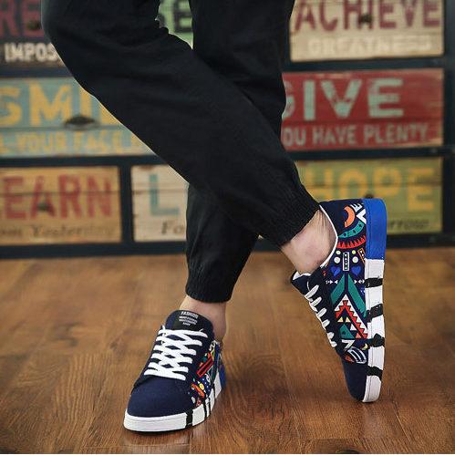 Flatline Graffiti Design Sneakers