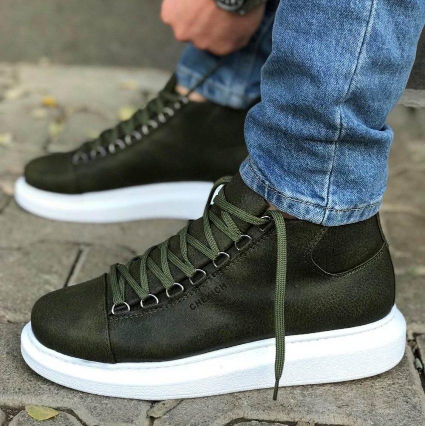 Chekich Lowcut Green Boots (CH258)